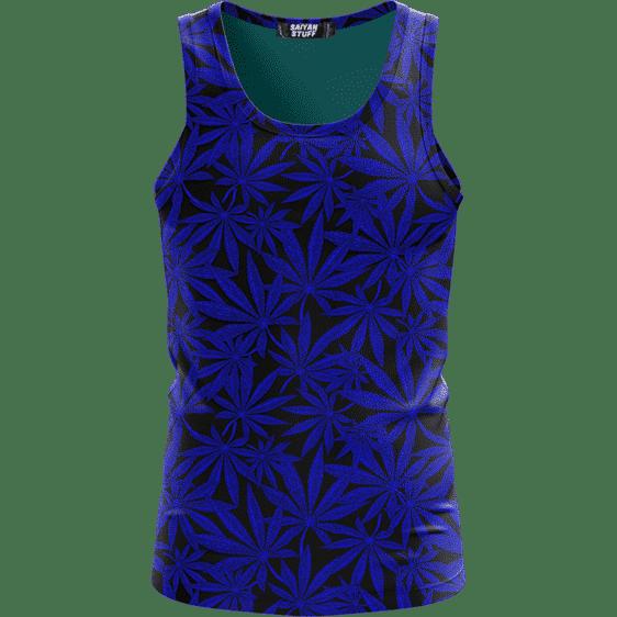 Weed Marijuana Leaves Navy Blue Pattern Cool Dope Tank Top