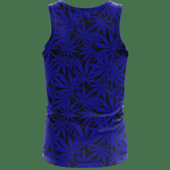 Weed Marijuana Leaves Navy Blue Pattern Cool Dope Tank Top- back