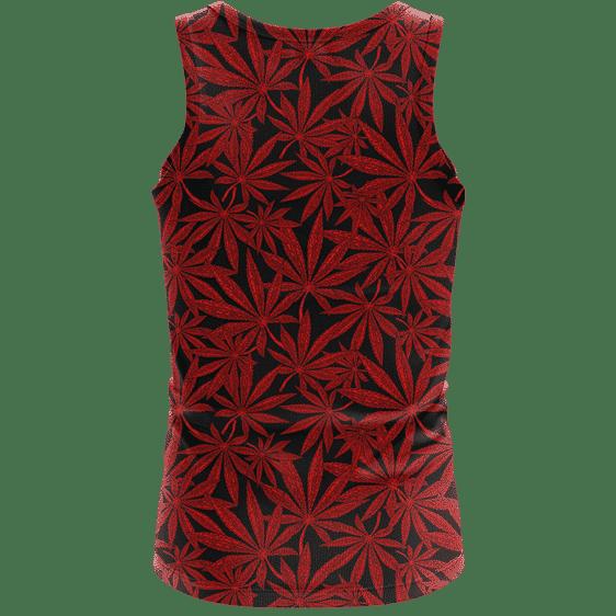 Weed Marijuana Leaves Red Pattern Cool Wonderful Tank Top - back