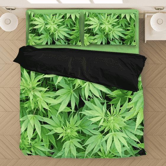 Weed Marijuana Plant Leaves Cool Wonderful Bedding Set