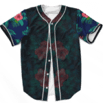 Weed Pattern on Floral Designs 420 Marijuana Baseball Jersey