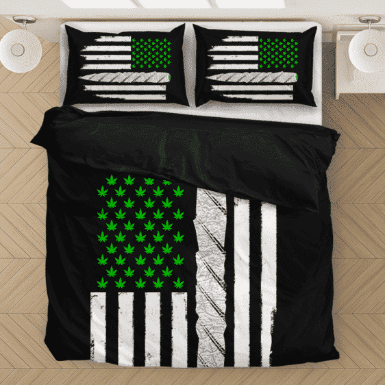 Weed US Flag Joint 420 Marijuana Dope Ganja Bedding Set