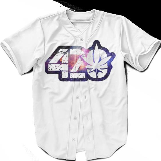 White 420 Galaxy Logo Cannabis Themed Colorful Baseball Jersey