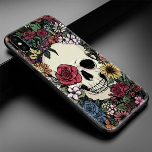 White Skull Surrounded By Flowers Awesome iPhone 12 Case