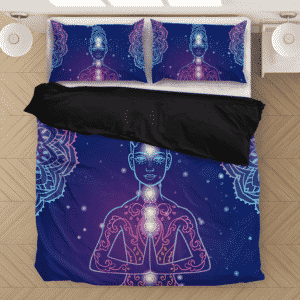 Yoga Ornament Beautiful Esoteric Dark Blue Bedding Set