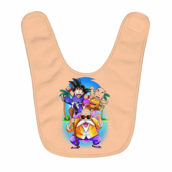 DBZ Kid Goku Krillin & Master Roshi In Kame Island Baby Bib