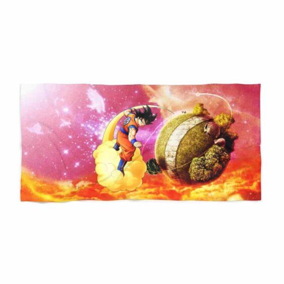 Dragon Ball Goku Riding On Nimbus Clouds Galaxy Cool Beach Towel