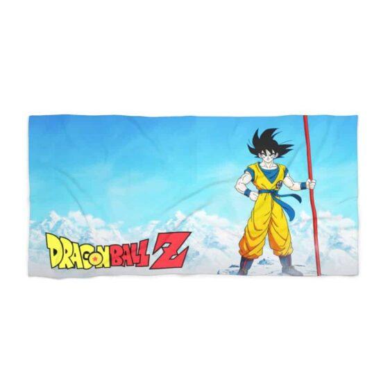 DBZ Son Goku Standing On Snowy Mountain Awesome Beach Towel