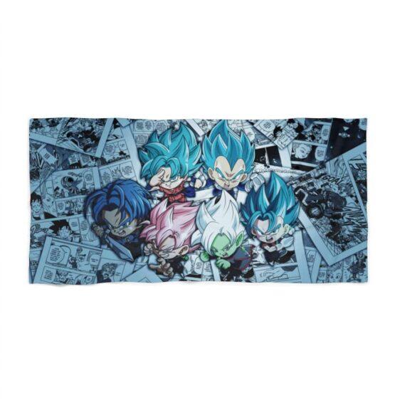 DBZ Chibi Goku Vegeta Zamasu Trunks Out Of Comics Cute Beach Towel