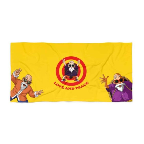 Dragon Ball Z Master Roshi Love & Peace Graphic Beach Towel