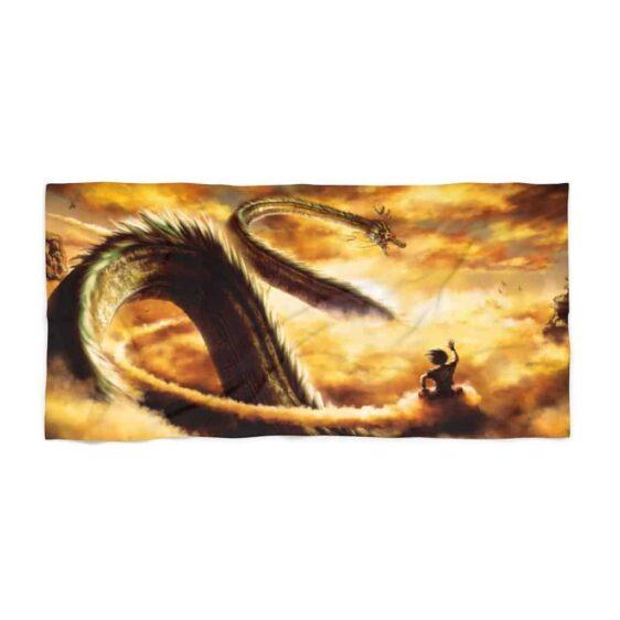 DBZ Goku Flying Nimbus & Shenron Art Awesome Beach Towel