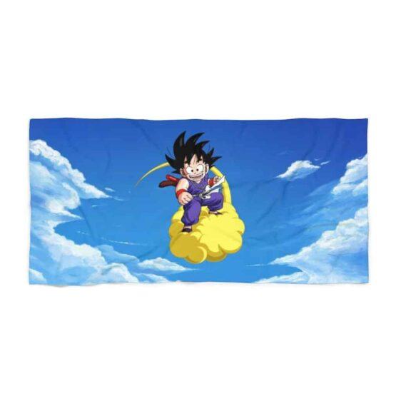 Dragon Ball Z Kid Goku Flying Nimbus Blue Beach Towel