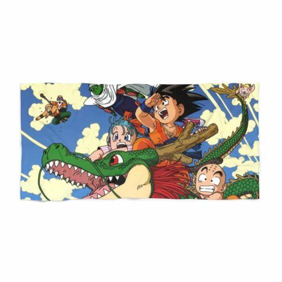 DBZ Vintage Kid Goku Chi-Chi Krillin Riding Shenron Beach Towel