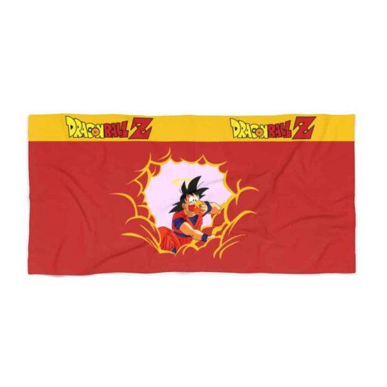 Dragon Ball Z Son Goku Eating Clouds Funny Orange Beach Towel