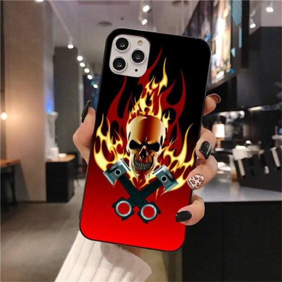 Badass Skull Blazing In Red Hell Flame Dope iPhone 12 Case