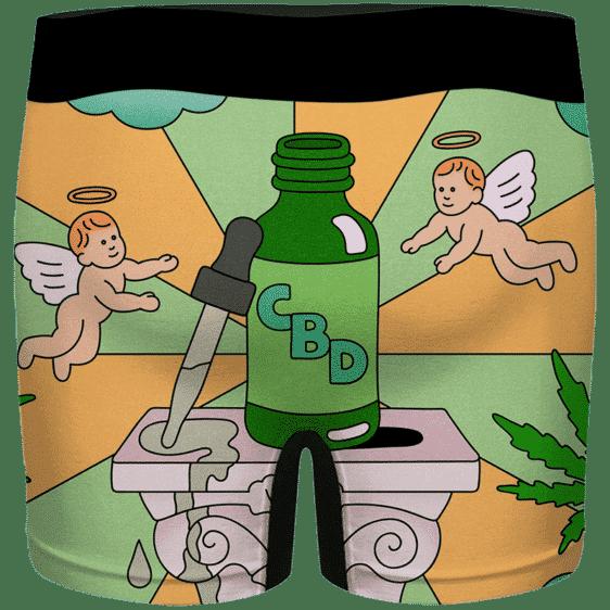 CBD Cannabis Oil Miracle Herb Cartoon Art Marijuana Men's Boxers