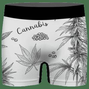 Cannabis Weed 420 Ganja Breezy Print White Men's Underwear