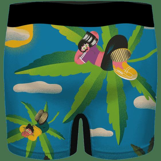 Cool Art Relaxing Teen on Marijuana Hemp 420 Weed Men's Boxers