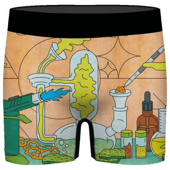 Cute Cartoon Dab Weed Chemistry Lab 420 Marijuana Men's Boxers
