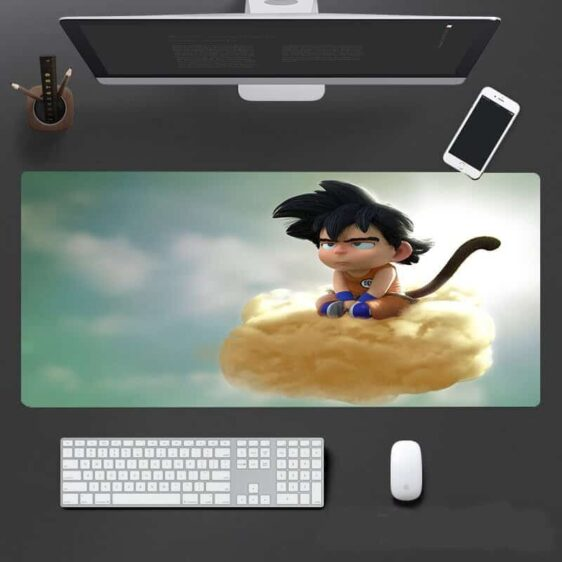 DBZ 3D Drawn Bored Kid Goku Riding Kinton Cloud Mouse Pad