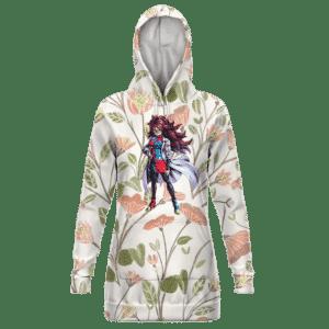 DBZ Android 21 Base Form Elegant Floral Hoodie Dress