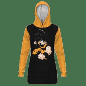 DBZ Goku Base Form Majestic Black Orange Hoodie Dress