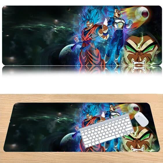 DBZ Goku Blue And Vegeta Blue Vs Enraged Broly Mouse Pad