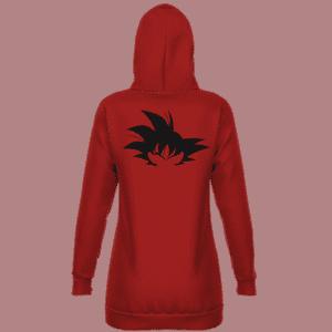 Dragon Ball Goku Silhouette Awesome Dark Red Hoodie Dress