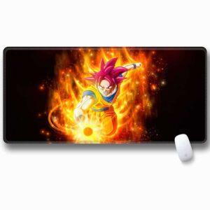 DBZ Son Goku Super Saiyan God Fiery Aura Extended Mouse Pad