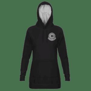 Dragon Ball Capsule Corp Minimalist Black Hoodie Dress