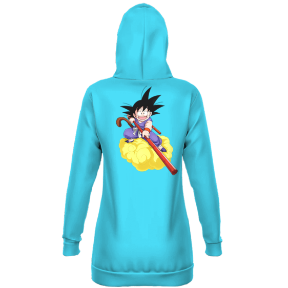 Dragon Ball GT Kid Goku In Blue Costume Bubbly Blue Hoodie Dress