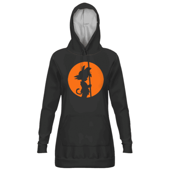 Dragon Ball Kid Goku Orange Silhouette Dark Dope Hoodie Dress