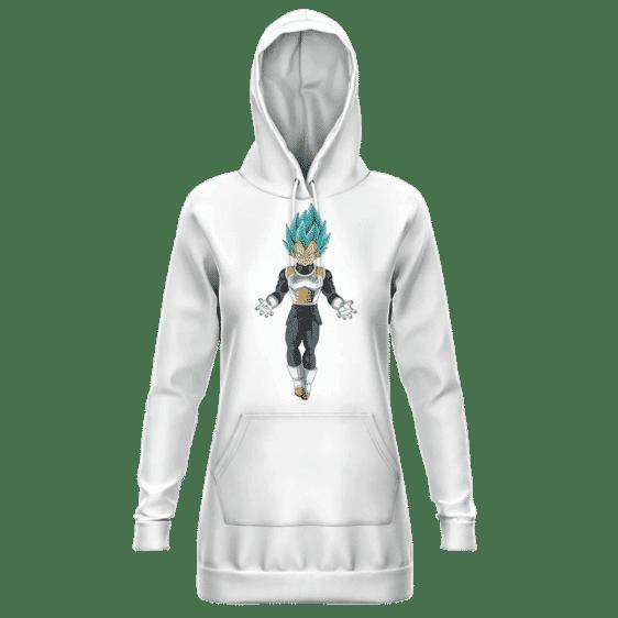 Dragon Ball Super Vegeta SSGSS Minimalist White Hoodie Dress