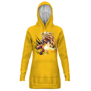 Dragon Ball Z Son Goku Super Saiyan 3 Yellow Hoodie Dress