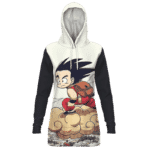 Flying Cute Kid Goku Cloud Nimbus Vintage Women's Hoodie Dress