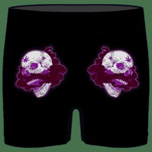 Glowing Purple Skull Smoke Weed 420 Marijuana Men's Boxer Briefs