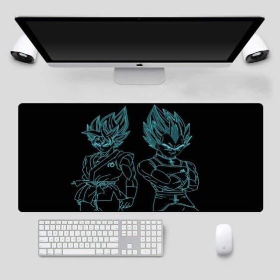Goku And Vegeta Blue Silhouette Black Non-Slip Mouse Pad
