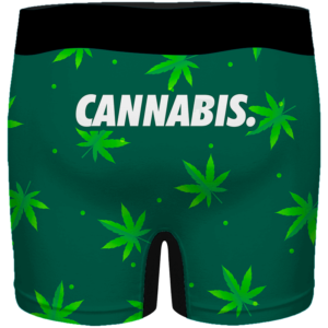 Green Cannabis Weed Pattern Minimal Art 420 Marijuana Men's Boxers