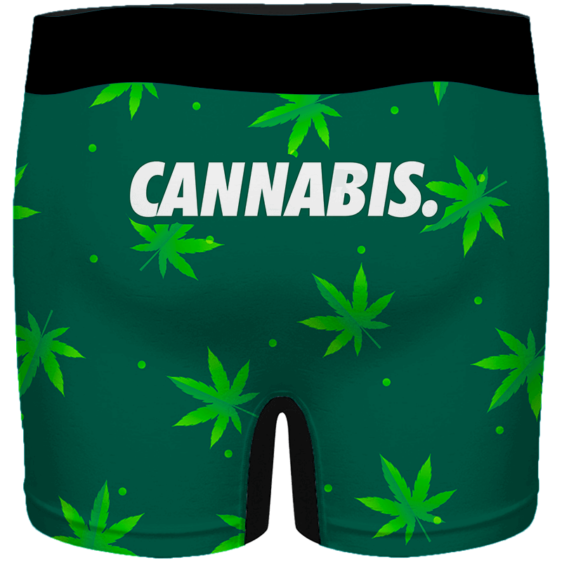 Green Cannabis Weed Pattern Minimal Art 420 Marijuana Men's Boxers