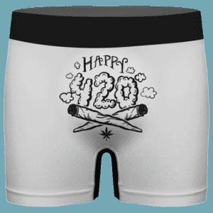 Happy 420 Joint Weed Marijuana White Men's Underwear