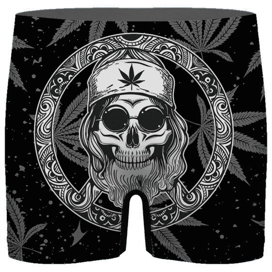 Hippie Skull Awesome Marijuana Leaves Dope Men's Boxer Brief