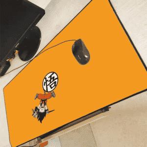 Kid Goku Holding Korin's Staff Upside Down Kanji Mouse Pad