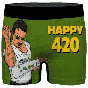 Kush Bae Action Happy 420 Marijuana Green Men's Underwear