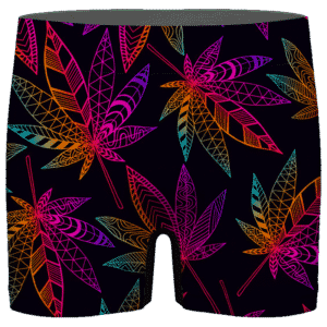 Marijuana Leaf Trippy Colors All Over Print Cool Men's Boxer