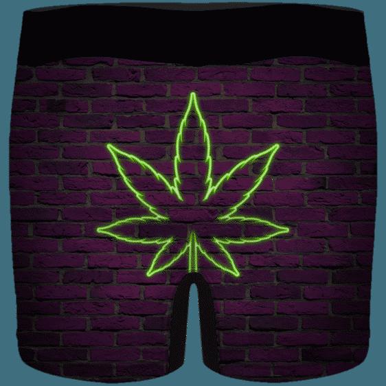 Neon 420 Marijuana Retro Brick Wall Weed Men's Underwear