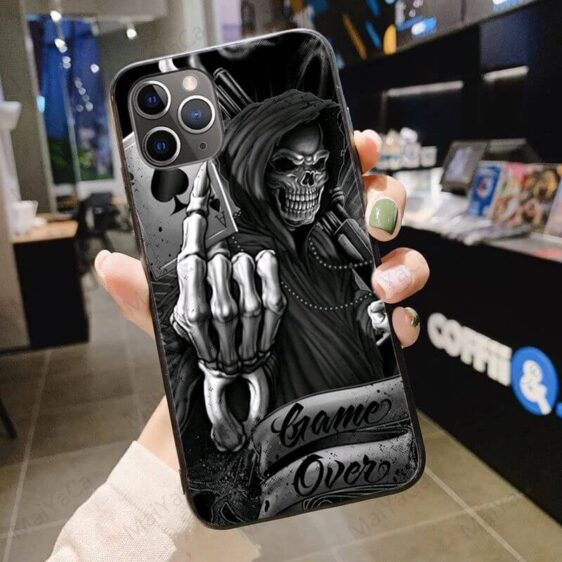 Skeleton Holding Ace Card Cool Gray Skull iPhone 12 Case