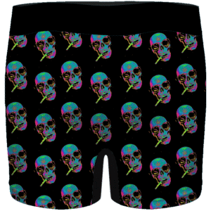 Smoking Vibrant Skull Retro 64 Bit Art 420 Marijuana Men's Boxers