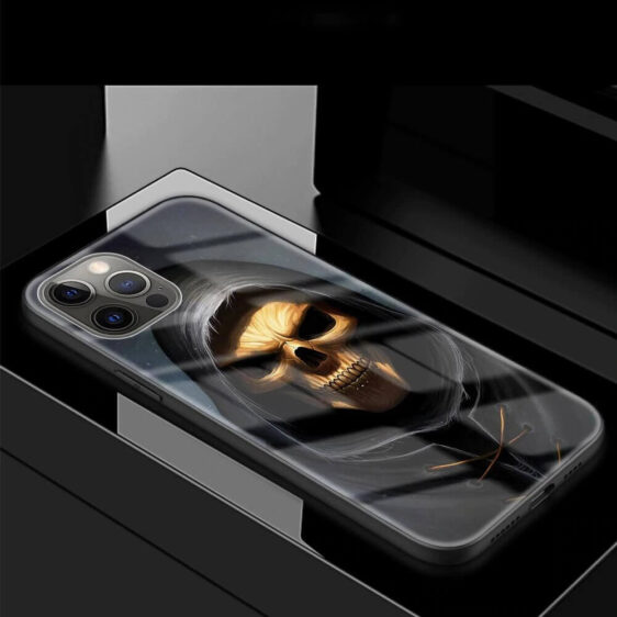 Gold Brown Skull Hooded Grim Reaper Awesome iPhone 12 Case