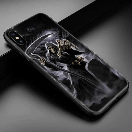 Badass Grim Reaper Coming For You Black Skull iPhone 12 Case