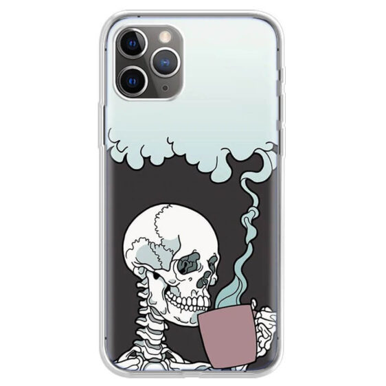 Cozy Skeleton Drinking Hot Coffee Art Cool iPhone 12 Case